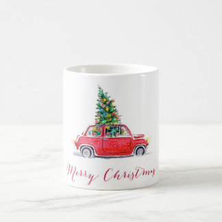 car with a christmas tree coffee mug
