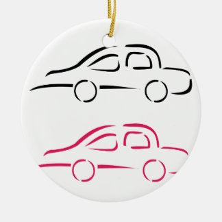 Car with abstract lines christmas ornament