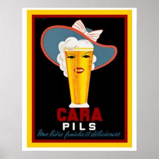 Cara Pils Vintage Beer Ad Poster 16 x 20