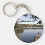 Carabou lake MN Basic Round Button Key Ring