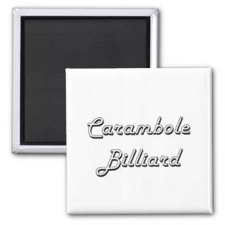 Carambole Billiard Classic Retro Design Square Magnet