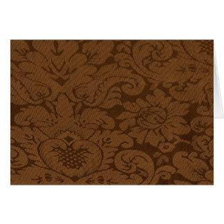 Caramel Brown Damask Weave Look Note Card