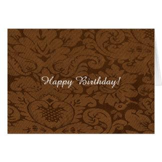Caramel Brown Damask Weave Look Greeting Card