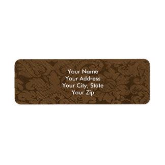 Caramel Brown Damask Weave Look Return Address Label