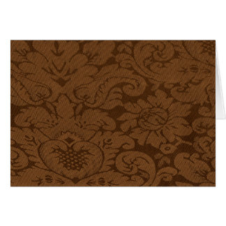 Caramel Brown Damask Weave Look Note Card