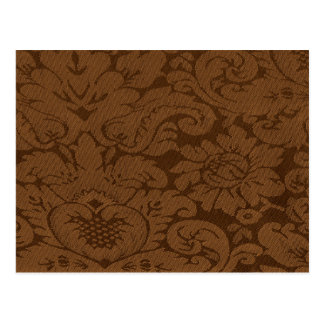 Caramel Brown Damask Weave Look Postcard