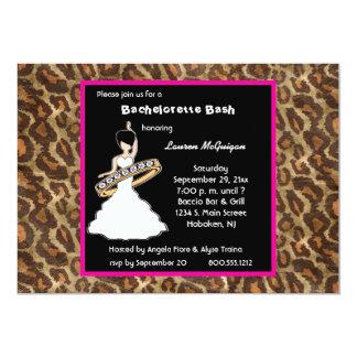 "Caramel Fuscia Leopard Party Invitation 5"" X 7"" Invitation Card"