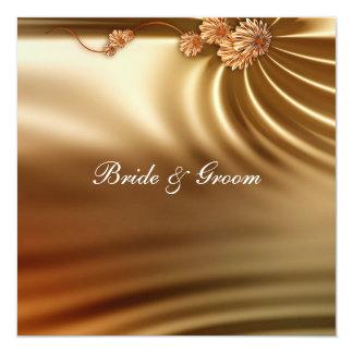 "Caramel Wedding Set 5.25"" Square Invitation Card"