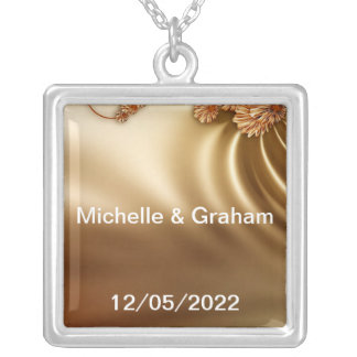 Caramel Wedding Set Silver Plated Necklace