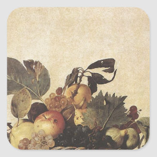 Caravaggio's Basket of Fruit Square Stickers