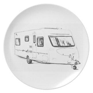 Caravan design melamine plates
