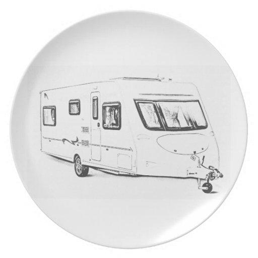 """Caravan"" design melamine plates"