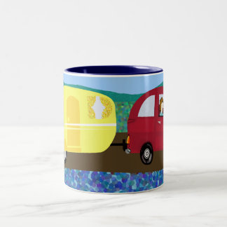 Caravan holiday Two-Tone coffee mug