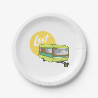 Caravan Lost Rerto Sixties Style 7 Inch Paper Plate