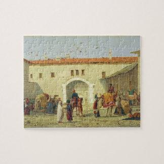 Caravanserai at Mylasa, Turkey, 1845 (oil on panel Puzzle