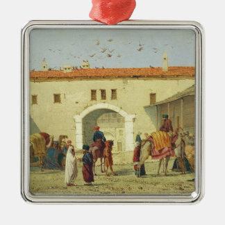 Caravanserai at Mylasa, Turkey, 1845 (oil on panel Silver-Colored Square Decoration