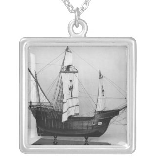 Caravel of Christopher Columbus Silver Plated Necklace