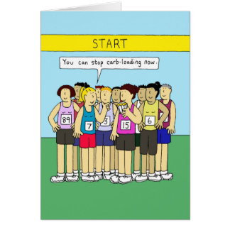 Carbo loading for runners, ladies eating cake. greeting card