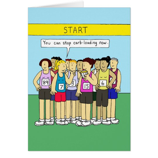 Carbo loading for runners, ladies eating cake. card