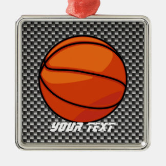Carbon Fiber look Basketball Christmas Ornament