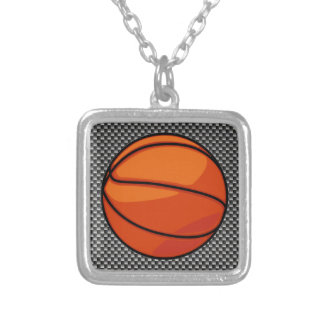 Carbon Fiber look Basketball Silver Plated Necklace