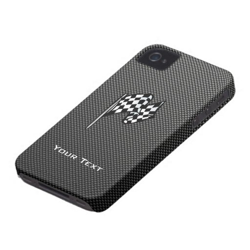 Carbon Fiber look Checkered Flag iPhone 4 Case-Mate Case