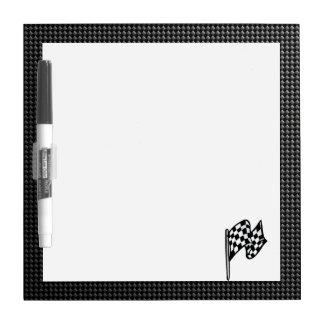 Carbon Fiber look Checkered Flag Dry Erase Board