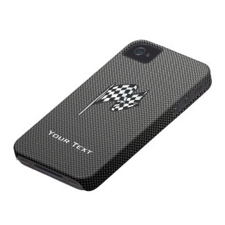 Carbon Fiber look Checkered Flag iPhone 4 Cases