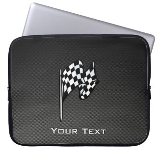 Carbon Fiber look Checkered Flag Laptop Sleeve