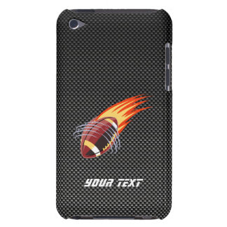 Carbon Fiber look Flaming Football Barely There iPod Covers