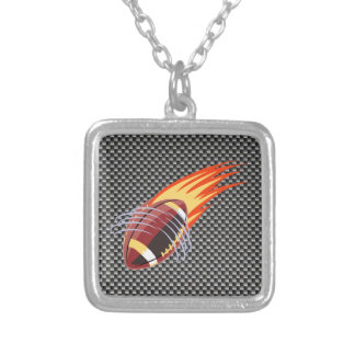 Carbon Fiber look Flaming Football Silver Plated Necklace