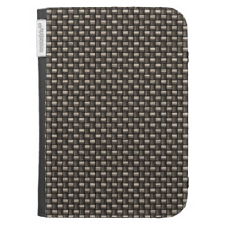 Carbon Fiber Pattern Faux Kindle Folio Cases