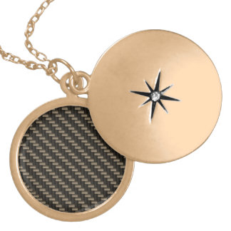 Carbon Fiber Pattern (faux) Round Locket Necklace