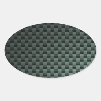 Carbon Fiber Patterned Oval Sticker