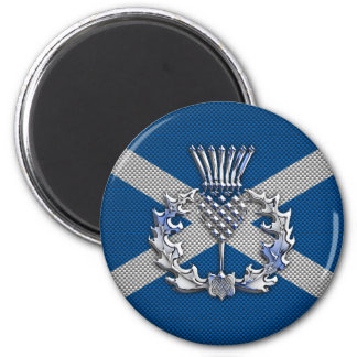 Carbon Fiber Print Scotland Flag 6 Cm Round Magnet