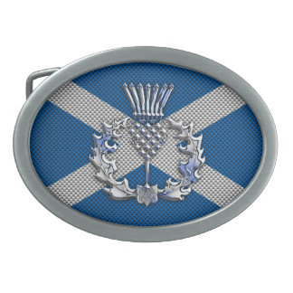 Carbon Fiber Print Scotland Flag Oval Belt Buckle