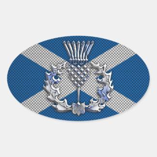 Carbon Fiber Print Scotland Flag Oval Sticker
