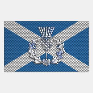 Carbon Fiber Print Scotland Flag Rectangular Sticker
