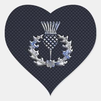 Carbon Fiber Print Silver Scottish Thistle Heart Sticker