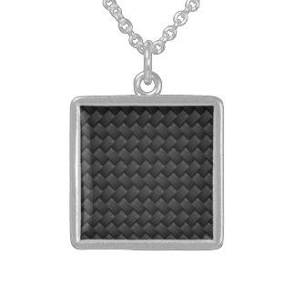 Carbon fiber sterling silver necklace