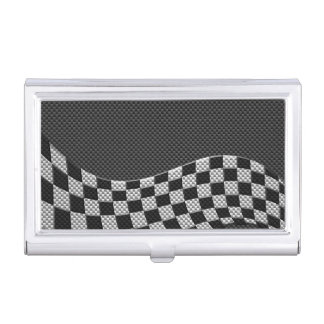 Carbon Fiber Style Checkered Racing Flag Wave Business Card Case