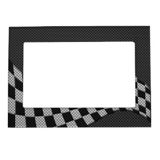 Carbon Fiber Style Checkered Racing Flag Wave Magnetic Frame
