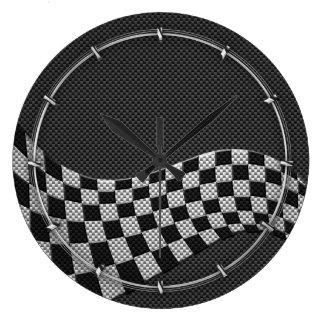 Carbon Fiber Style Racing Flag Checkers Wave Print Wallclocks