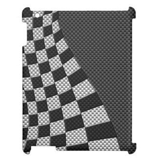 Carbon Fiber Style Racing Flag Wave Decor iPad Covers