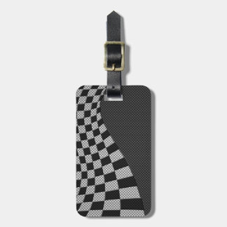 Carbon Fiber Style Racing Flag Wave Decor Luggage Tag