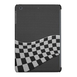 Carbon Fiber Style Racing Flag Wave Print iPad Mini Retina Covers