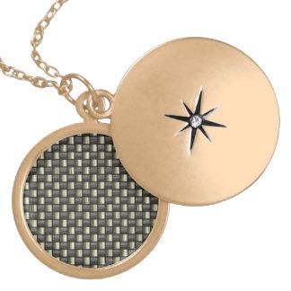 Carbon Fiber Textured Round Locket Necklace