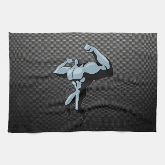 Carbon Fibre look Bodybuilder Tea Towel