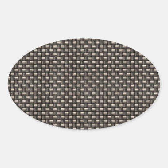 Carbon Fibre Pattern (Faux) Oval Sticker