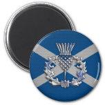 Carbon Fibre Print Scotland Flag 6 Cm Round Magnet